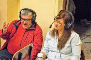 José Vicente Avila y Trinidad Saiz en la retransmisión Camino del Calvario 2017.