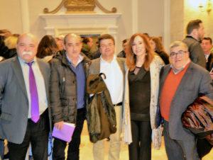 Pilar Rupérez junto a José Vicente Avila, pregonero 2017, Enrique Valero y otros amigos. Foto Buendía.