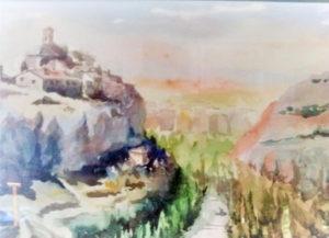 Vista desde San Isidro. / Acuarela Alfonso Cabañas.