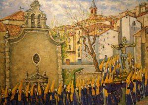 Cuadro de Óscar Pinar con el paso del Cristo de los Espejos por la Puerta de Valencia. / Archivo José Vicente Ávila