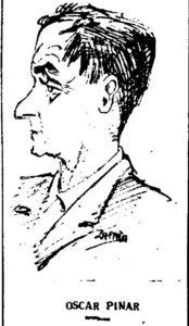 Caricatura de Miguel Zapata sobre Óscar Pinar. / Diario 'Ofensiva' 1956