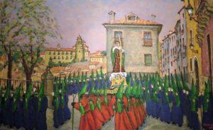 Cuadro de Óscar Pinar con el paso de San Juan Evangelista. / Archivo José Vicente Ávila
