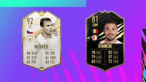 Pavel Nedvěd a Nicolae Stanciu ve FIFA 21 •Foto: Koláž sazkaeleague.cz, EA Sports