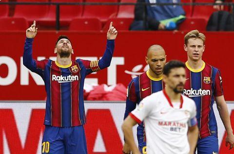 Lionel Messi v utkání Barcelony proti Seville vstřelil gól a přidal jednu asistenci •Foto: Reuters