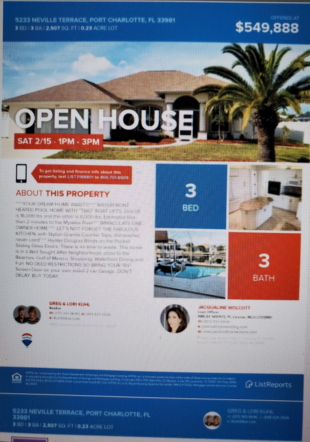 Open House Sat 1 to 3