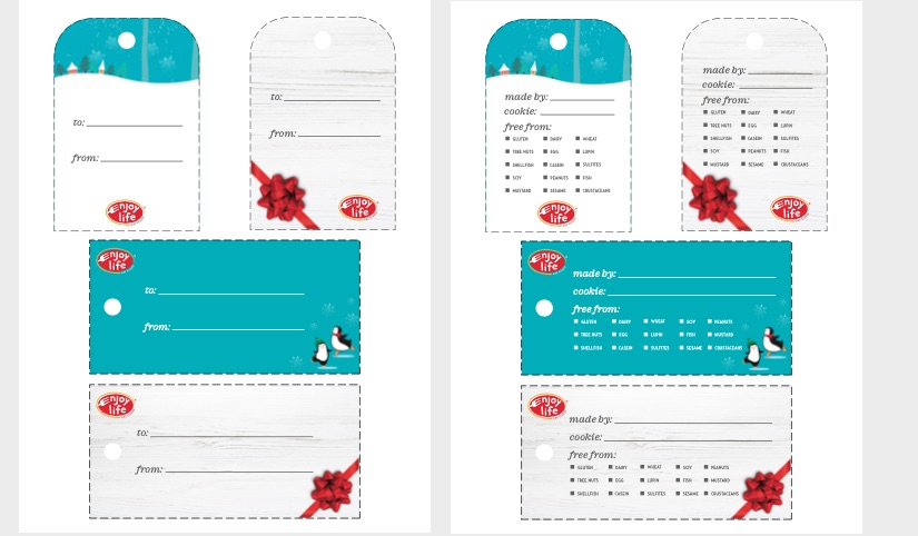 front and back of printable holiday gift tags