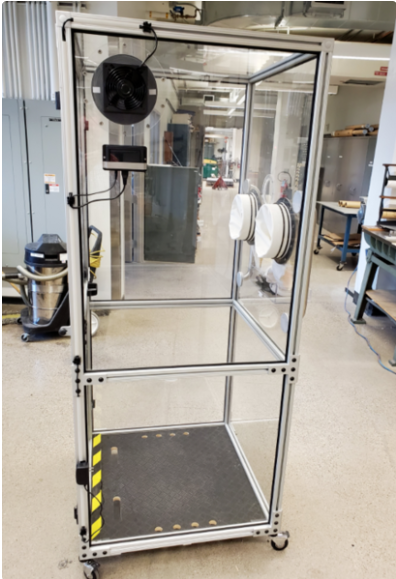 A positive pressure testing booth for sample collection