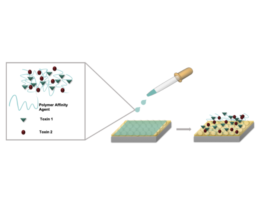 Detection of toxic small molecules using polymers and Raman scattering