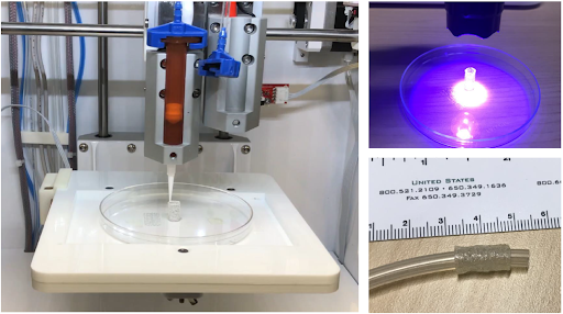 Images depicting a tissue construct being created through a new bioprinting technique