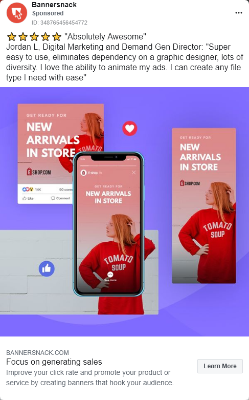 Bannersnack – Free trial – e-commerce – Facebook Ad