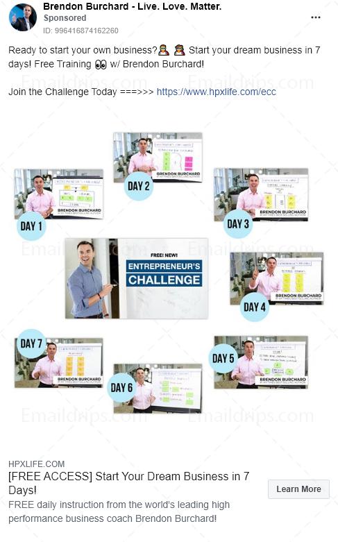 Brendon Burchard – Challenge – 7days entrepreneurs challenge – Facebook Ad
