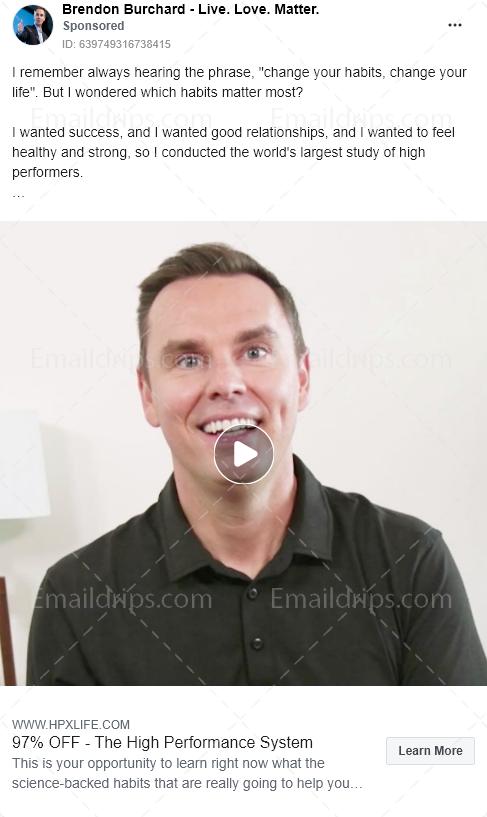 Brendon Burchard – High performance system – Facebook Ad