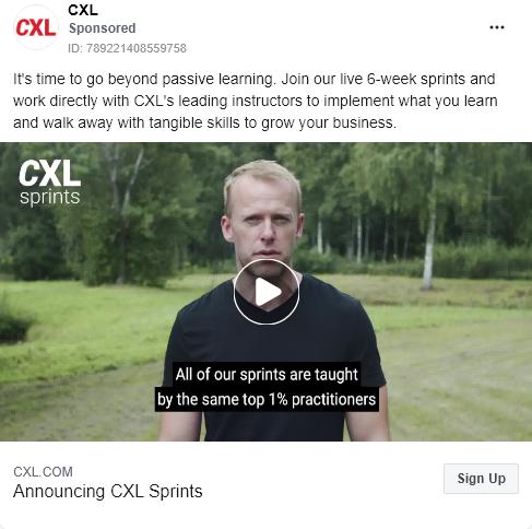 CXL – Product Launch – CXL sprints – Facebook Ad