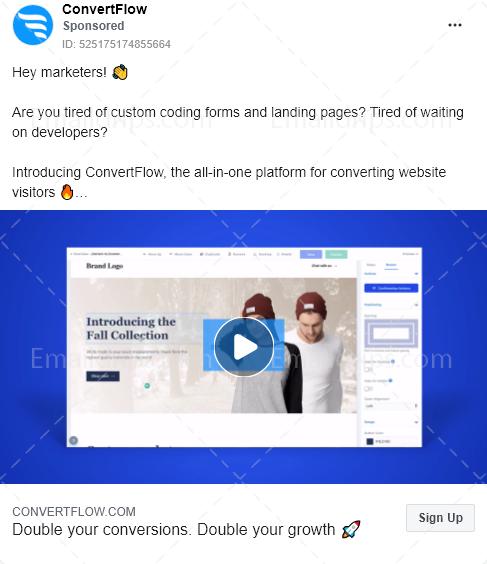 Convertflow – Free trial – Facebook Ad
