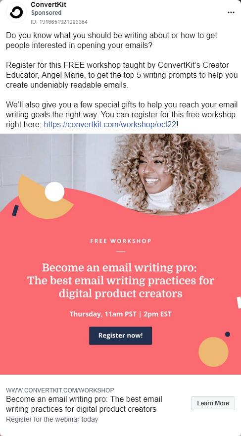 ConvertKit – free workshop – Facebook Ad