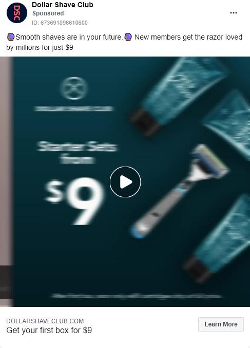 Dollar Shave Club – Ultimate shave razor 3 – Facebook Ad