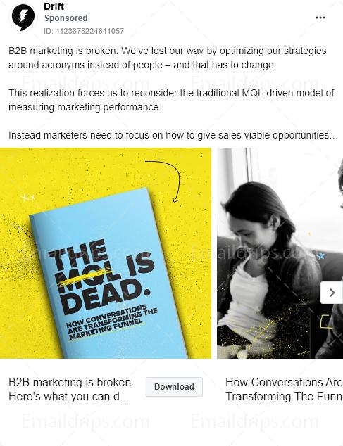 Drift – Ebook – MQL is dead – Facebook Ad