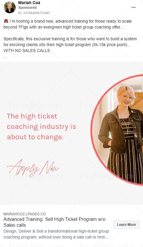 Mariah Coz - Coaching Programm - High ticket programm - Facebook Ad