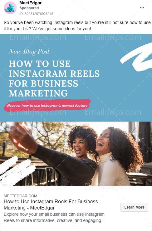 MeetEdgar – Blog post –   instagram for business – Facebook Ad