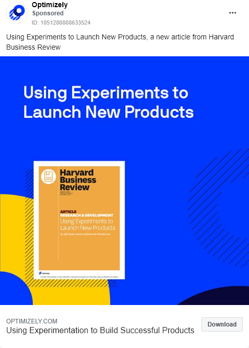 Optimizely – Gated Article – using experiments launch new products – Facebook Ad