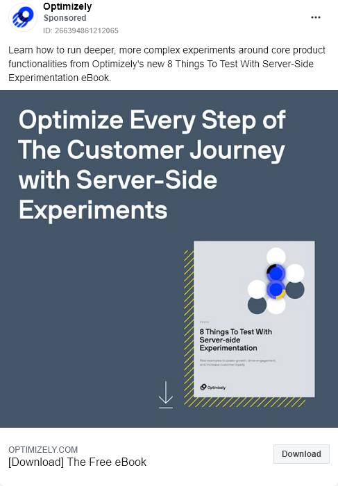 Optimizely – Ebook – 8 things to test with server side experimentation  – Facebook Ad