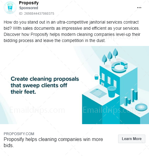 Proposify – Free trial  – Cleaning businesses – Facebook Ad