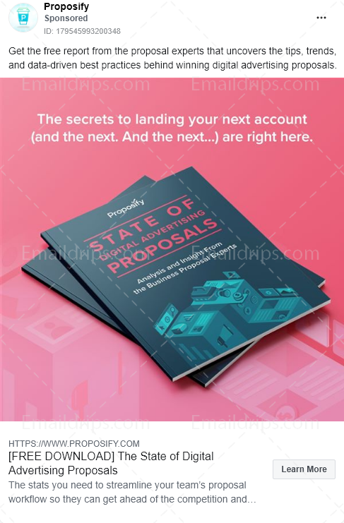 Proposify – Free Report – state of digital advertising proposals – Facebook Ad