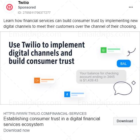Twilio – Ebook – consumer trust financial services – Facebook Ad