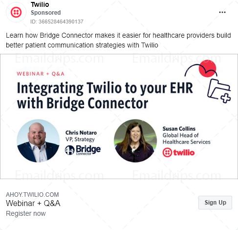 Twilio – Webinar – Twilio healthcare – Facebook Ad
