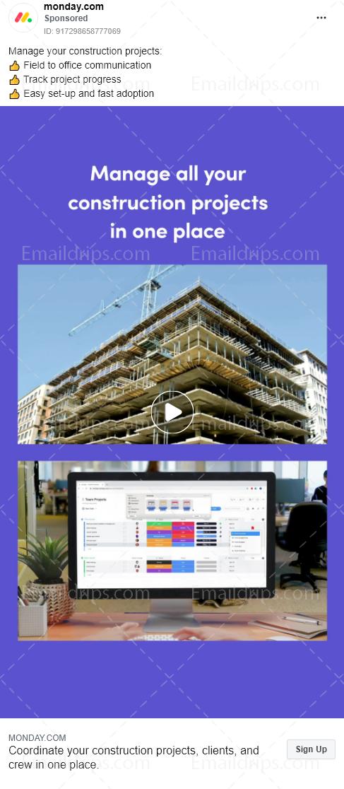 Monday.com – Free Trial – Construction – Facebook Ad