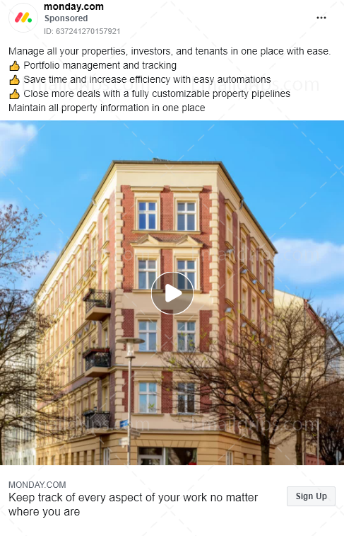 Monday.com – Free Trial – Crm propertymanagement – Facebook Ad