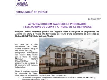 ALTAREA COGEDIM INAUGURE LE PROGRAMME LES JARDINS DE CLUNY À THIAIS, EN ÎLE-DE-FRANCE