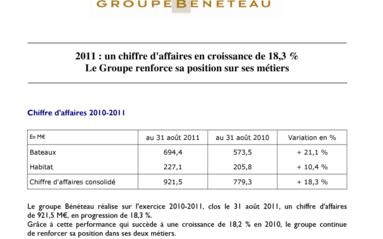 2011-09-29 : Groupe BENETEAU : 2011 : un chiffre d'affaires en croissance de 18,3 %