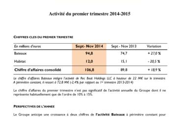 2015-01-08 BENETEAU : CA 1er trimestre 2014-2015