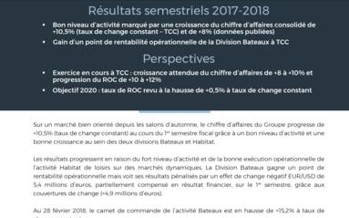 2018-04-26 BENETEAU : Resultats semestriels 2017-2018