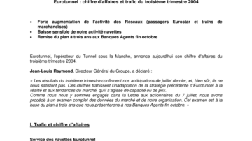 Eurotunnel : chiffre d'affaires et trafic du troisième trimestre 2004