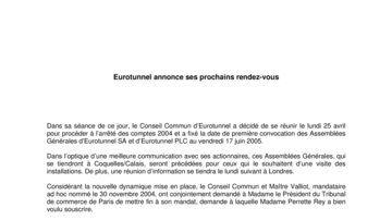 Eurotunnel annonce ses prochains rendez-vous
