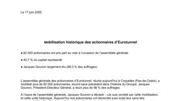 Mobilisation historique des actionnaires d'Eurotunnel