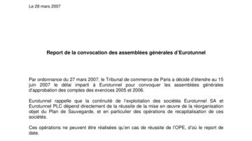 Report de la convocation des assemblées générales d'Eurotunnel