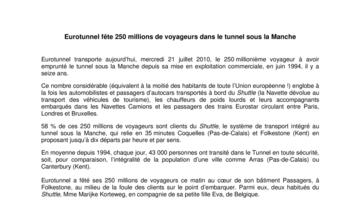 Eurotunnel fête 250 millions de voyageurs dans le tunnel sous la Manche