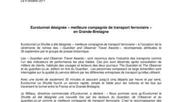 Eurotunnel désignée « meilleure compagnie de transport ferroviaire » en Grande-Bretagne