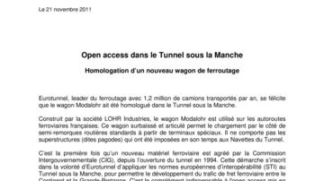 Open access dans le Tunnel sous la Manche - Homologation d'un nouveau wagon de ferroutage
