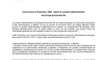 Lord Levene of Portsoken, KBE*, rejoint le conseil d'administration  de Groupe Eurotunnel SA