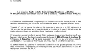 A la faveur du Jubilé, un trafic de diamant pour Eurotunnel-Le Shuttle :  26 000 véhicules de tourisme en un week-end, la barre des 10 000 franchie en 24 heures