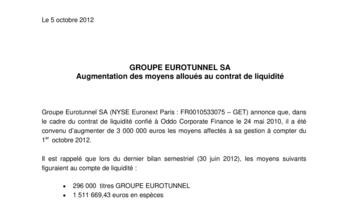 GROUPE EUROTUNNEL SA - Augmentation des moyens alloués au contrat de liquidité