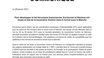 Pour développer le fret ferroviaire transmanche, Eurotunnel et Siemens ont réussi le test de la locomotive Vectron dans le tunnel sous la Manche