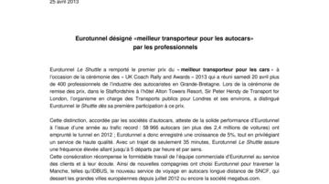 Eurotunnel désigné «meilleur transporteur pour les autocars»  par les professionnels
