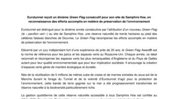 Eurotunnel reçoit un dixième Green Flag consécutif pour son site de Samphire Hoe, en reconnaissance des efforts accomplis en matière de préservation de l'environnement