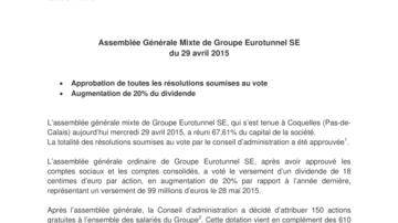 Assemblée Générale Mixte de Groupe Eurotunnel SE  du 29 avril 2015
