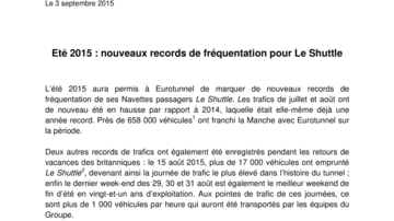 Eté 2015 : nouveaux records de fréquentation pour Le Shuttle